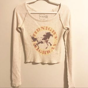 Free People Long sleeve Thermal Cropped Shirt